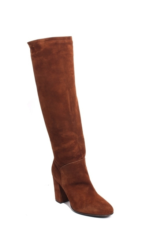 Brown Suede Leather Zip-Up Knee-High Heel Boots