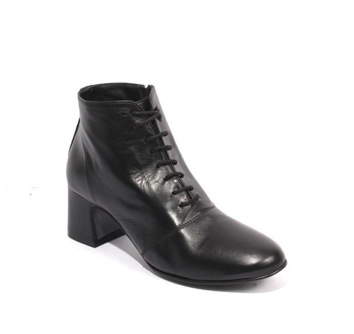 Black Leather / Zip-Up / Lace-Up Ankle Heel Boots