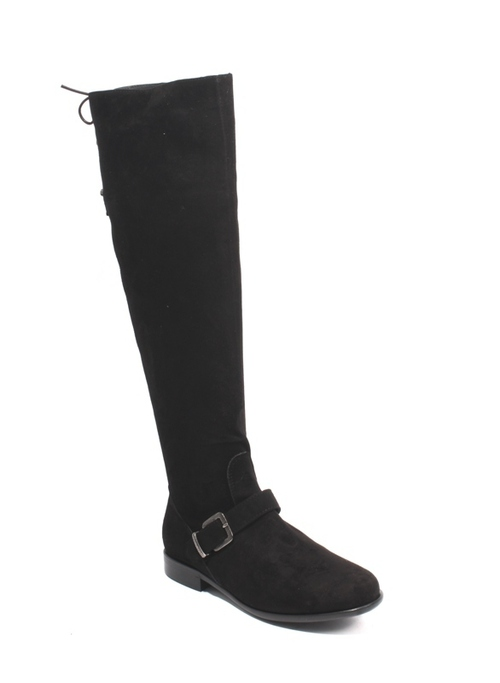 Black Suede Over-the-Knee Zip Lace Buckle Riding Boots
