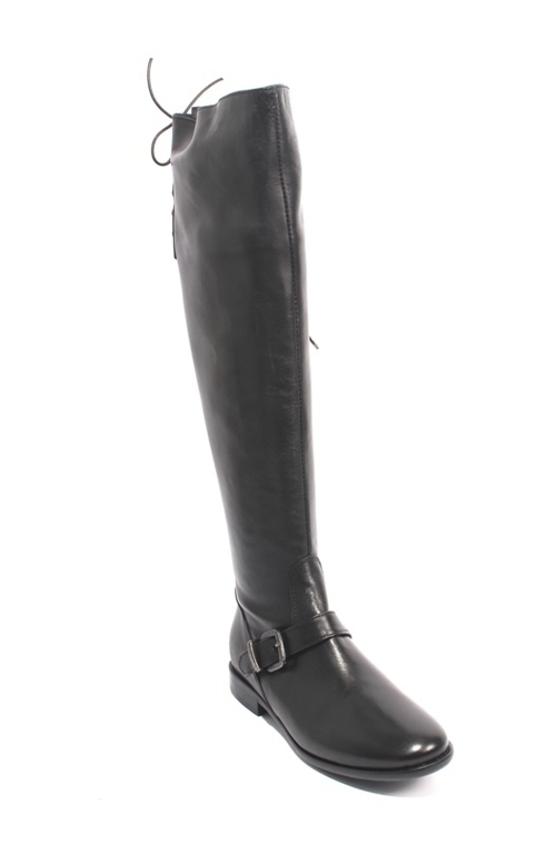Black Leather Over-the-Knee Zip Lace Buckle Riding Boots