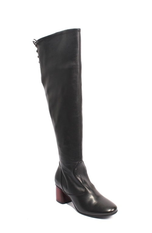 Black / Red Leather Over-the-Knee Zip-Up Heel Boots