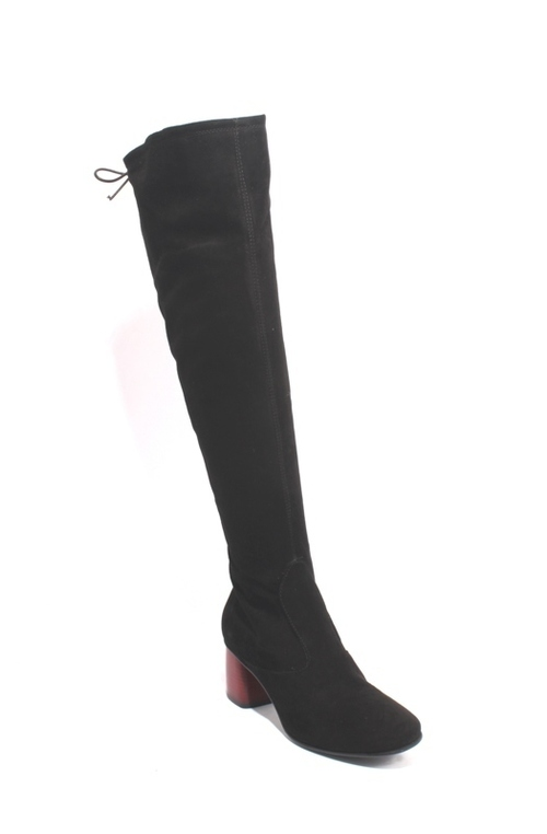 Black  / Red Suede Leather Over-the-Knee Zip-Up Heel Boots