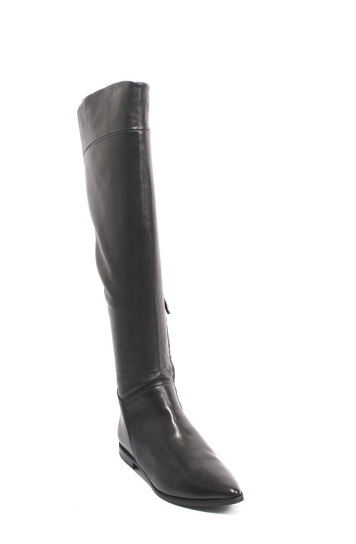 Black Leather Pointed Toe Zip Over-the-Knee Boots