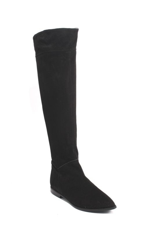 Black Suede Leather Pointed Toe Zip Over-the-Knee Boots