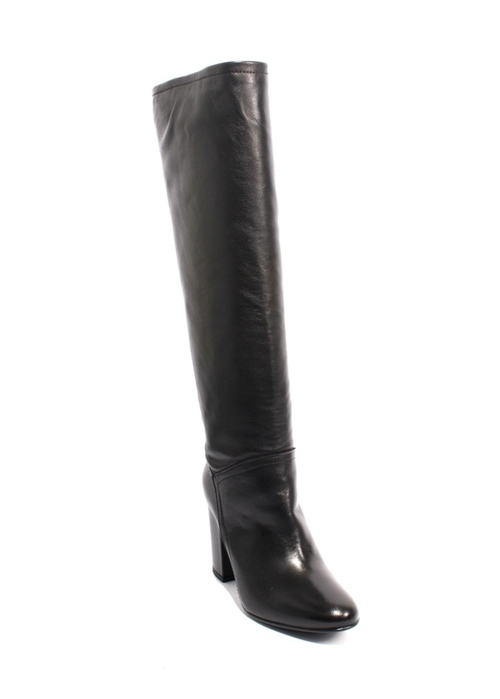 Black Leather Zip-Up Knee-High Heel Boots
