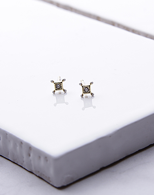 Square CZ Stone Point Stud 14K Gold Plated