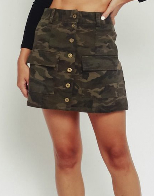 Button Up Front Camo Skirt