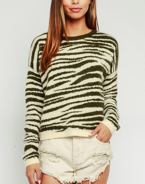 Fuzzy Zebra Crew Neck Sweater