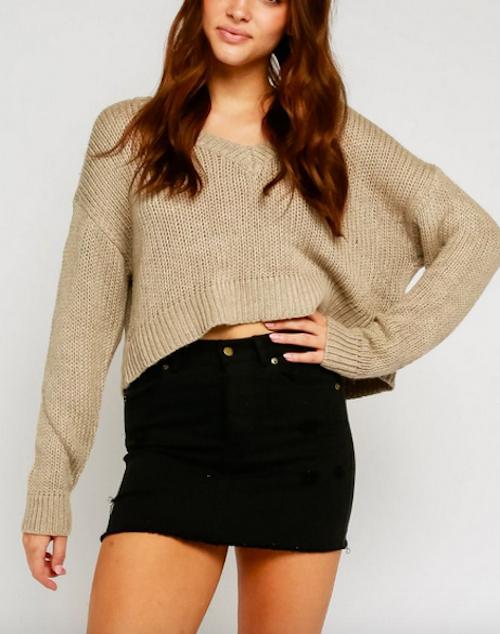 Dolman Sleeve V Neck Cropped Sweater