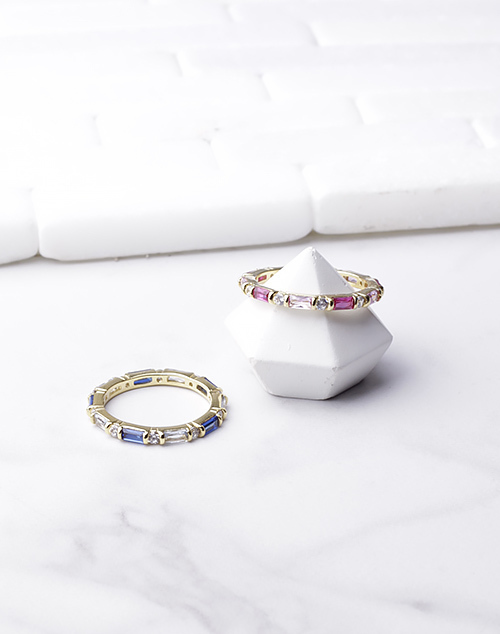 Colored Gem Infinity Ring