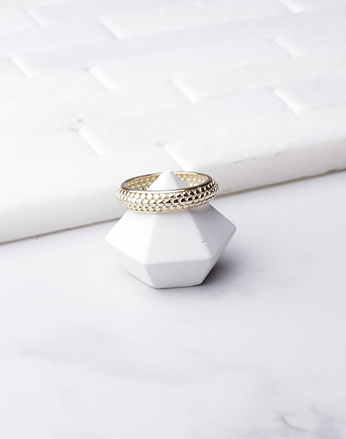 Beaded Disc Band Ring