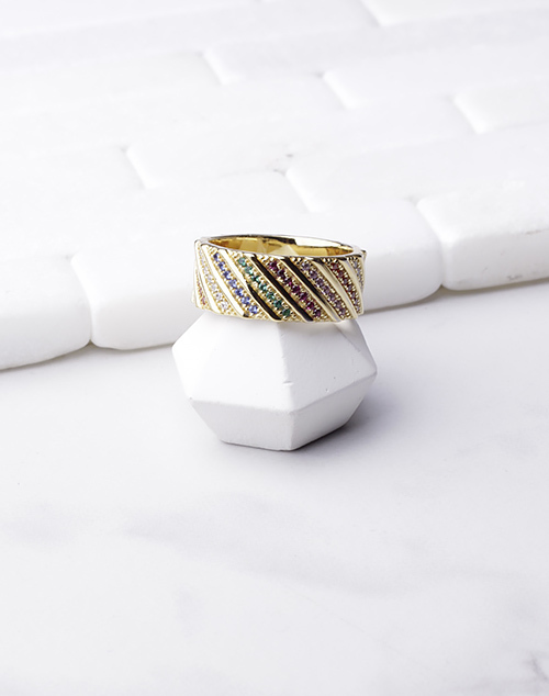Striped Multi Stone Ring