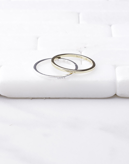 Simple Thin LOVE Band Ring