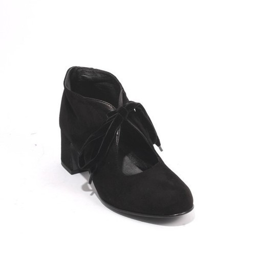 Black Suede Leather Round Toe Lace-Up Booties Shoes