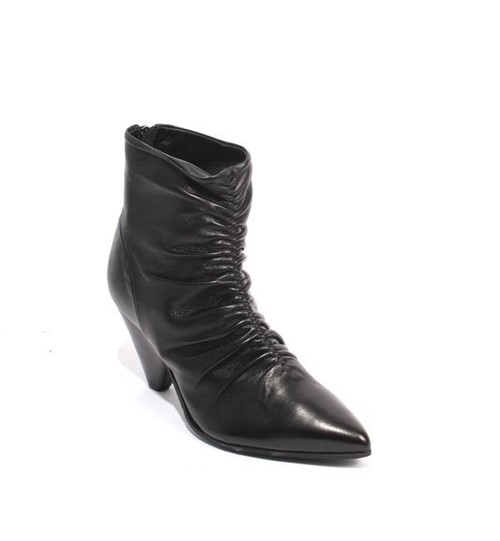 Black Leather Zip Pointy Toe Sculptured Heel Ankle Boots