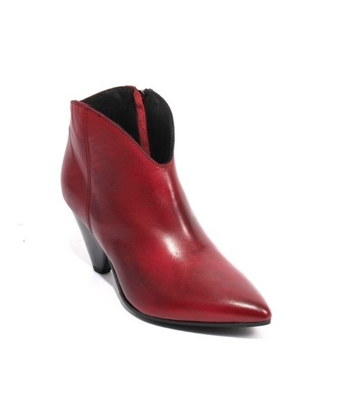 Antique Red Leather Zip Pointy Sculptured Heel Ankle Boots
