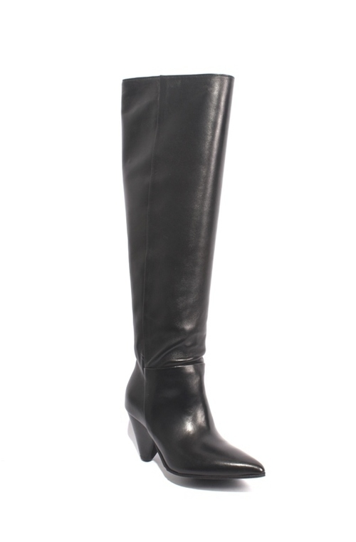 Black Leather Pointy Pull On Sculptured Knee-High Boots