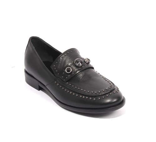 Black Leather Studded Oxford Shoes