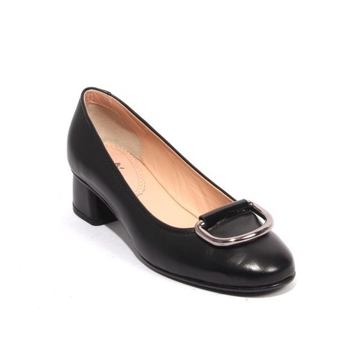Black Leather Patent Leather Metal Buckle Heels Pumps