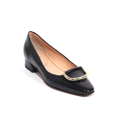 Dark Navy Patent Leather Gold Buckle Heels Pumps