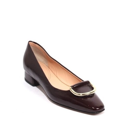 Burgundy Patent Leather Gold Buckle Heels Pumps