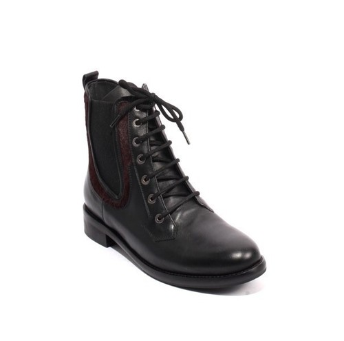 Black Burgundy Leather Elastic Lace-Up Ankle Boots