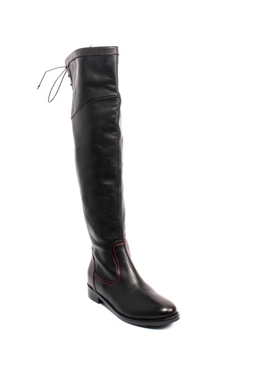 Black Red Leather Zip Lace Over-the-Knee Riding Boots