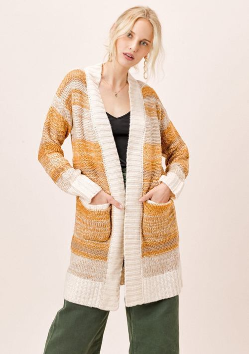 Brushed Acrylic Striped Cardigan