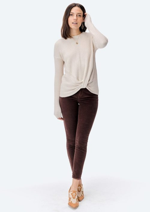 Stone Long Sleeve Front Knot Sweater
