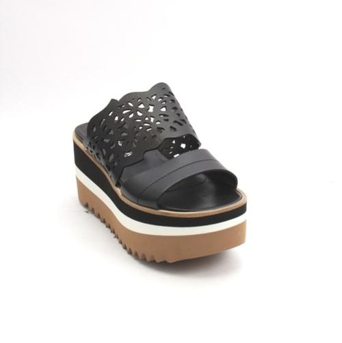 Black Leather Platform Slides Sandal
