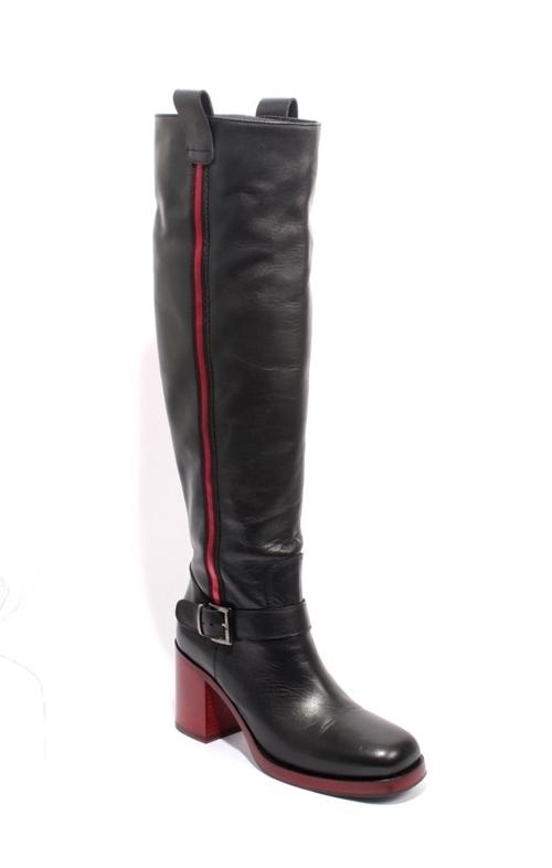 Black Red Leather Zip Buckle Knee-High Heel Boot