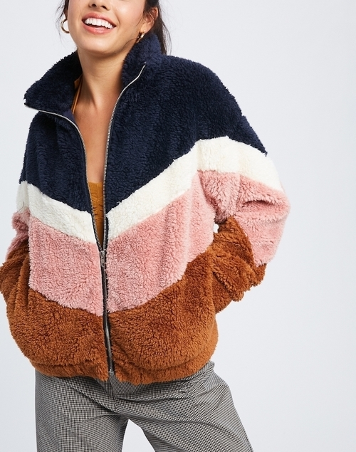 Zip Up Color Block Fur Jacket