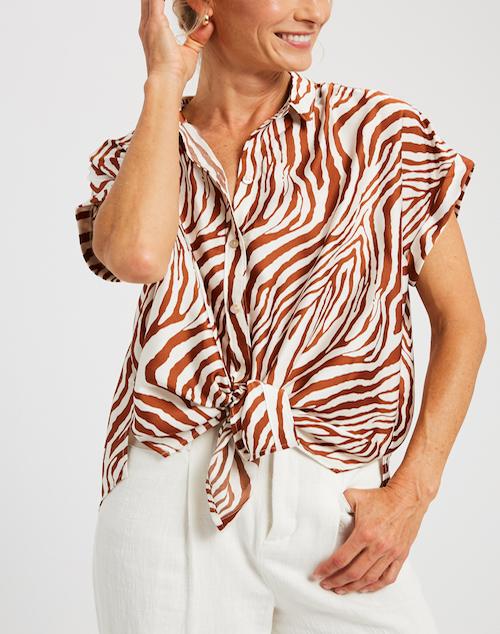 Zebra Tie Front blouse
