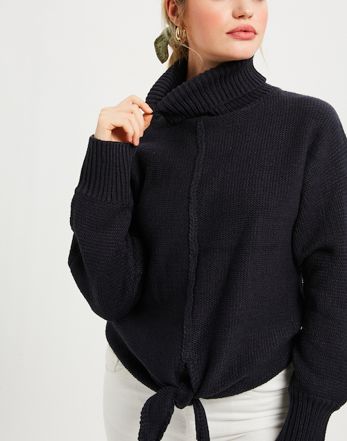 Front Tie Turtle Neck Sweater With Front Tie