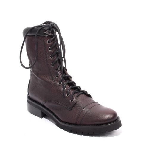 Bordo Black Leather Zip Lace-Up Ankle Boots