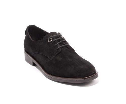 Black Suede Leather Lace-Up Shoes