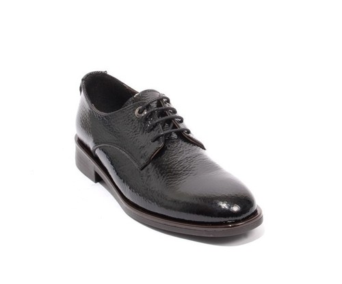 Black Patent Leather / Leather Lace-Up Shoes