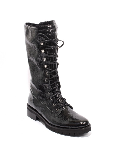 Black Patent Leather Zip Lace Studded Mid Calf Boots