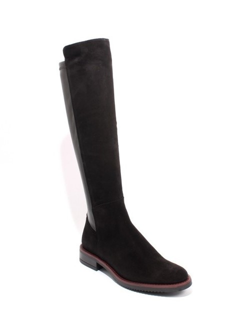 Black Burgundy Suede Leather Elastic Zip Riding Boots