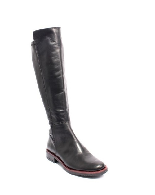 Black Burgundy Leather / Elastic Zip Riding Boots