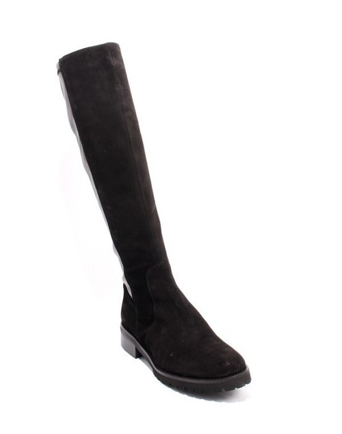 Black Suede Leather Elastic Zip Riding Boots