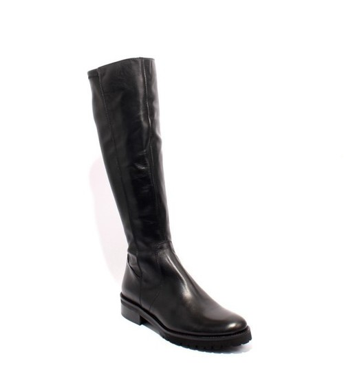 Black Leather Elastic Zip Riding Boots