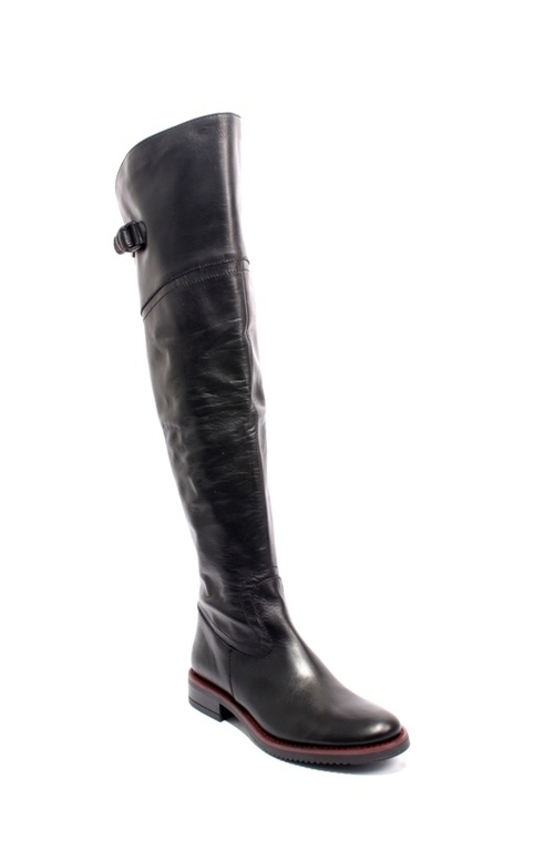 Black Burgundy Leather Over the Knee Boots