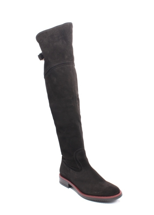 Black Burgundy Suede Leather Over the Knee Boots