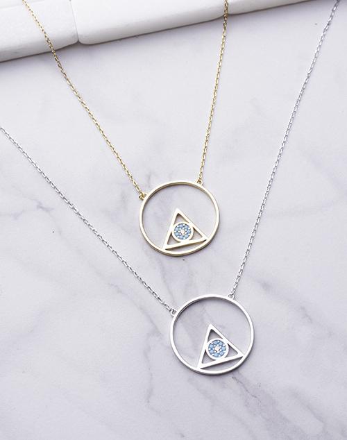 Pyramid Circle Turq Stone Necklace