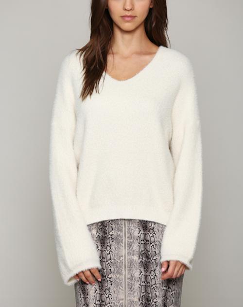 Brushed Fuzzy Yarn V Neck Sweater