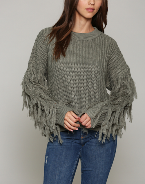 Pullover Sweater Sleeve Fringe