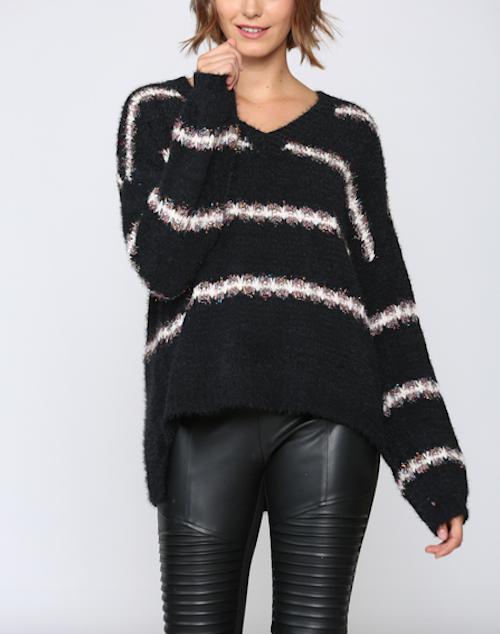 V Neck Striped Pullover Sweater