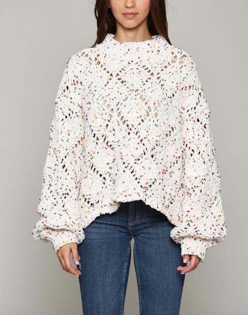 Diamond Stitch Sweater Pom Pom Yarn