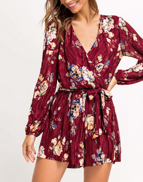 Pleated Deep V Floral Romper